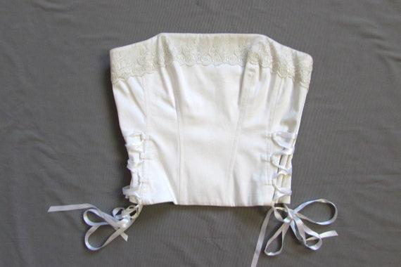 Vintage 90's White Corset, Lace Trim, Wedding Cor… - image 7