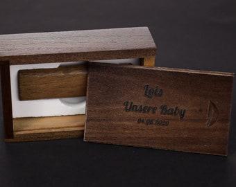 Wooden box for USB stick. Custom stick box.