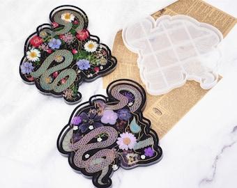 Gothic Skull Tray Mold-Viper and skull resin tray mold-Snake silicone tray mold-Skull coaster mold-Silicone mold for resin tray DIY