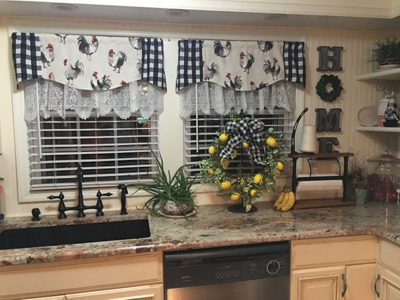 FRENCH COUNTRY Curtain, Kitchen Window Valance, Window Topper Curtain,  Valances for Windows, Farmhouse Kitchen Curtains, Flat Valances,