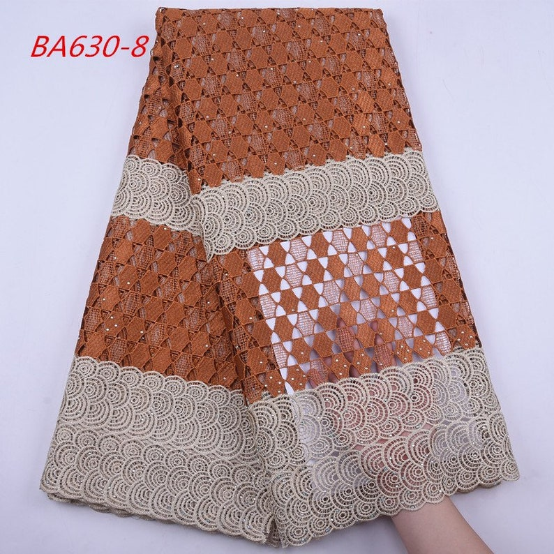 High-Quality Guipure Cord Lace Fabric Net Design Water Soluble Cord Lace With Rhinestones.