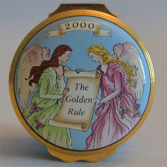 "Halcyon Days Enamels Rare Year 2000 /""Golden Rule/"" Trinket Box"
