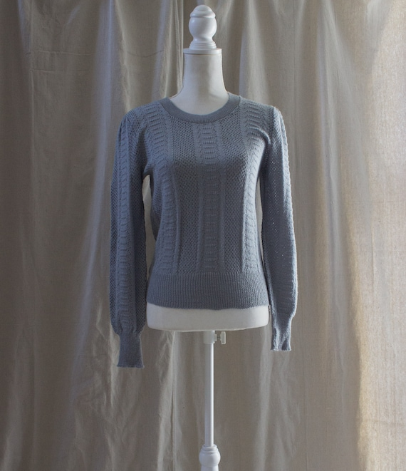 Vintage 1980s Gray Puff Sleeve Sweater - image 1