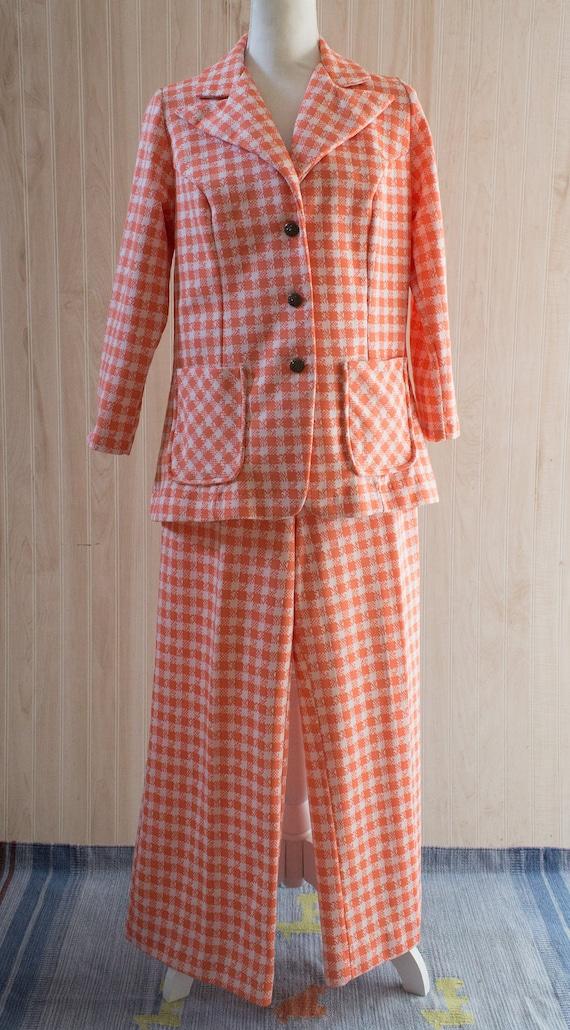 Vintage 1970s Orange Plaid Pantsuit