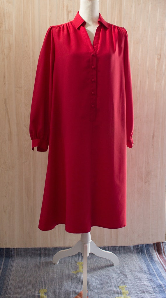 Vintage 1970s Red Silky Shirtdress
