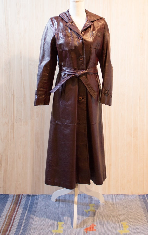 Vintage Burgundy Leather Trench Coat with Hood