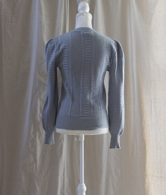 Vintage 1980s Gray Puff Sleeve Sweater - image 3