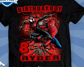 c6d4d7d7 MILES MORALES Birthday Shirt, Miles Morales, Spiderman, birthday shirt,  birthday T Shirt, family shirt, personalized