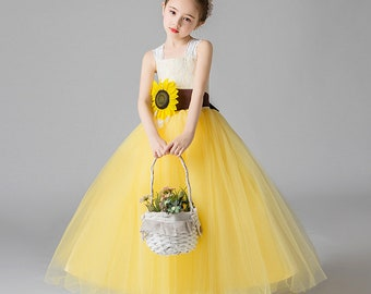 Sunflower Flower Girl Dress Etsy,Fitted Satin And Lace Wedding Dress