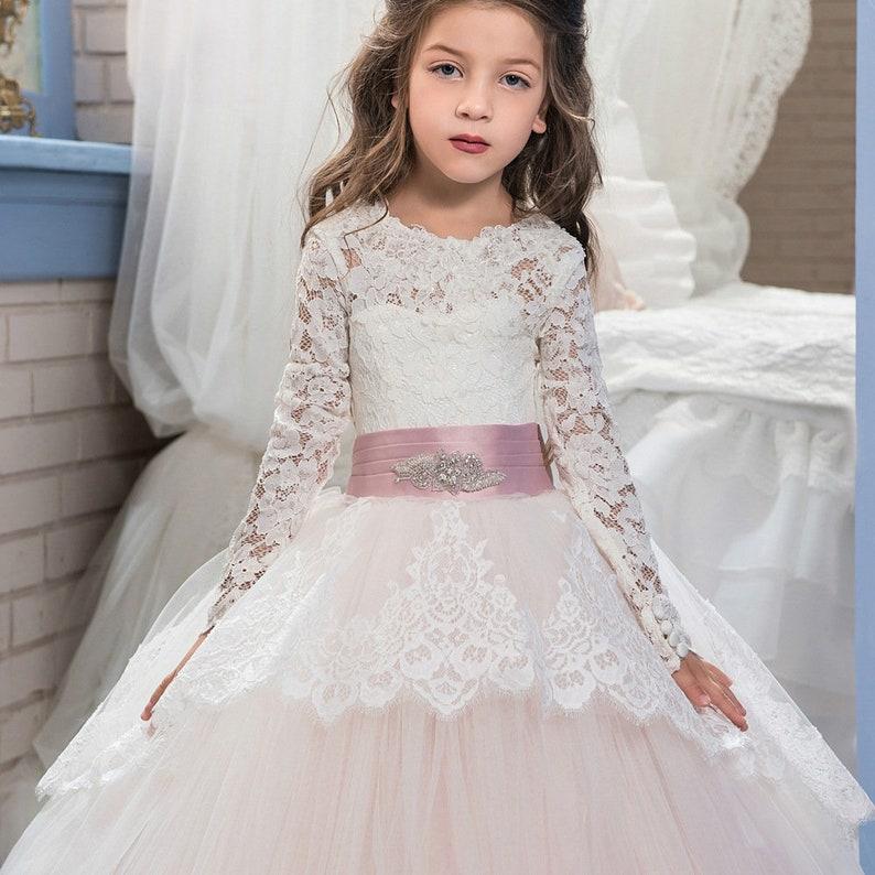Lace long sleeve girls dress,Girls Princess Dress,Girls Ruffled Dress,Tutu dress,formal dress,flower girl dress,Tulle dress,Wedding Dress