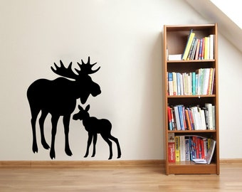 Moose wall decal Set of 10 Nature Wilderness Cabin themed Woods stickers
