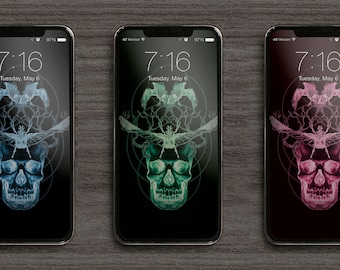 Skull, Crow and Beetle Phone Wallpaper pack of 3 colour variations