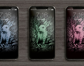 Rabbit in the Woods Phone Wallpaper pack of 3 colour variations