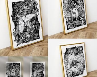 Ink illustrated Gothic Woodland Prints   Posters   Postcards