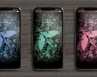 Luna Moth Phone Wallpaper pack of 3 colour variations