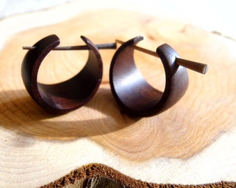 Neutral Toned Wood Hoop Earrings Chunky Minimalist. 3 colours to choose from Matte wooden hoops in stunning muted tones Modern