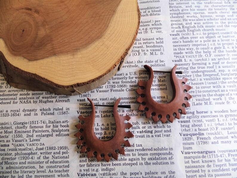 WOOD EARRINGS Fire Hoop  ORGANIC Tribal  Handmade Carved Wood Earring Hoops Women Brown  Decorative Eco Vegan Sustainable  Gift Bag