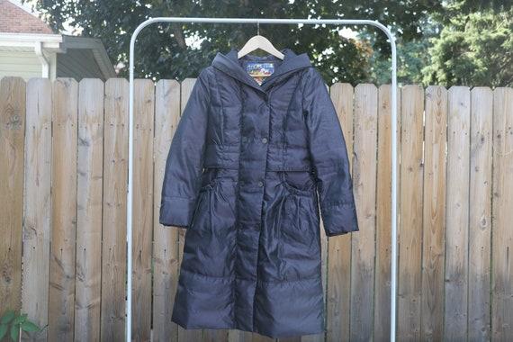 vintage long down coat / Metallic luster / full le