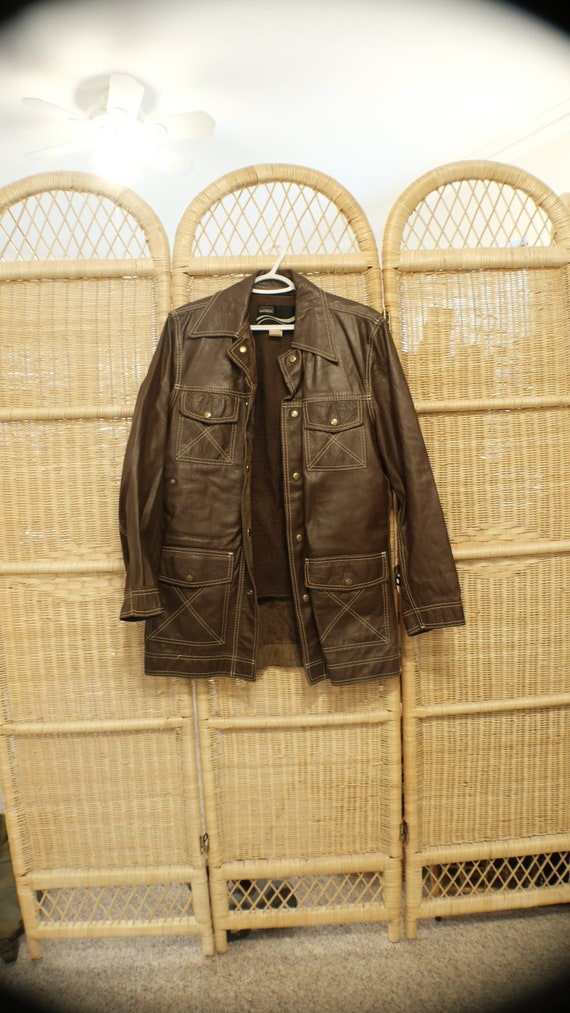 70s Brown Leather Button Up Jacket | women size M