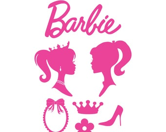 photograph relating to Free Printable Barbie Silhouette named Barbie silhouette Etsy