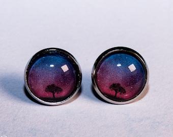 Cabochon earrings stud earrings 12 mm tree starry sky antique silver earrings for women and men universe