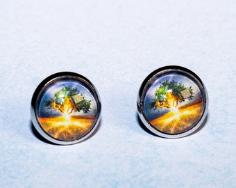 Cabochon earrings stud earrings 12 mm thunderstorm antique silver earrings for women and men storm lightning