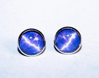 Cabochon earrings stud earrings 12 mm thunderstorm antique silver earrings for women and men lightning storm