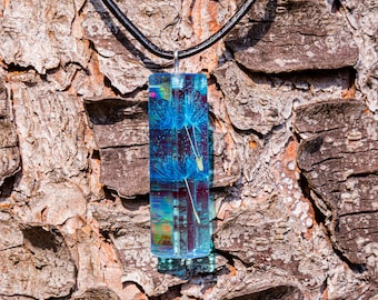 Pendant Lichen in Synthetic Resin | Unique | Blue | Resin | Handmade | Gift | Valentine's Day | Magic | Nature