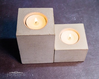 Tea light holder made of concrete | Tealight | Cube | Industrial | Candle | Gift | Decoration | Party | Home décor | Minimalist