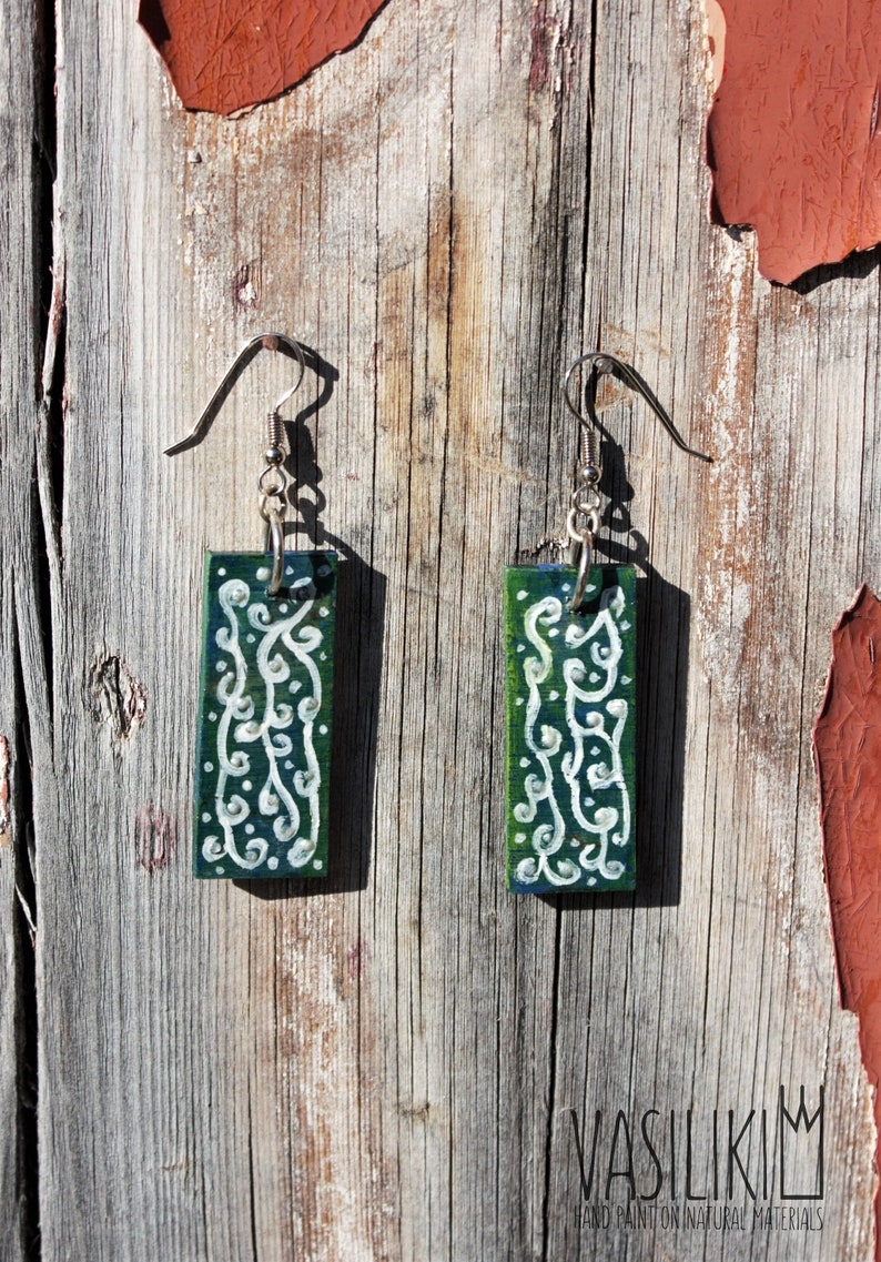bohemian jewelry birthday gift paisley earrings one of a kind Boho wooden hand painted earrings wood earrings wood painted jewelry