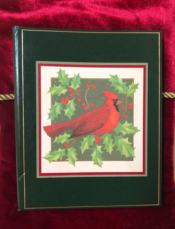 Caspari Christmas Cards.1985 Caspari Christmas Card List Address Book W Cardinal And Holly
