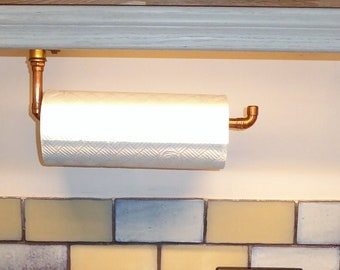 Copper Kitchen roll holder with chrome / brass fittings
