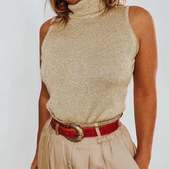 Vintage Lillie Rubin Gold Sleeveless Turtleneck