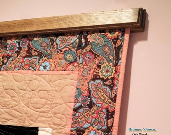"""Compression Quilt Hangers, 16"""" to 94"""" Decorative Edge Style in Oak Wood, (Knob-Less)"""