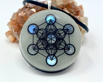 Moonstone Orgonite Necklace Sacred Geometry Pendant with Blue Aqua Glow And EMF protection
