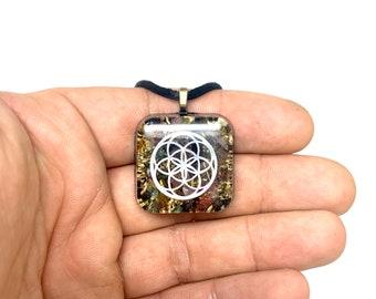 Seed of life Orgonite amulet w/ mixed tourmaline brass & EMF Sheild