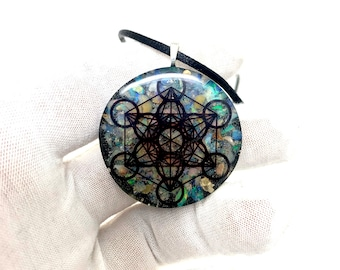 Colourful Fire Opal Crystal Orgonite Necklace Orgone Pendant Metatrons Cube