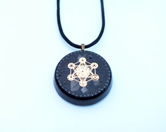 Gold Metatrons Cube with Chakra Symbols Elite Shungite Hematite Magnetite Grounding Tourmaline Orgonite Necklace