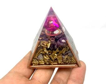 Purple Pink Orgonite Pyramid | Amethyst Titanium Quartz | Copper Frame & Discs