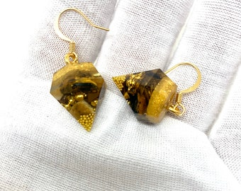 Orgonite Earings w/ Malachite Opal Peridot Tigers Eye | Gold Flake Gold Balls Quality Hoop