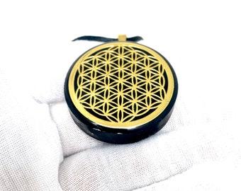 Gold Flower Of Life Orgone Energy Necklace | EMF Sheild Orgonite Pendant w/ Shungite & Tourmaline