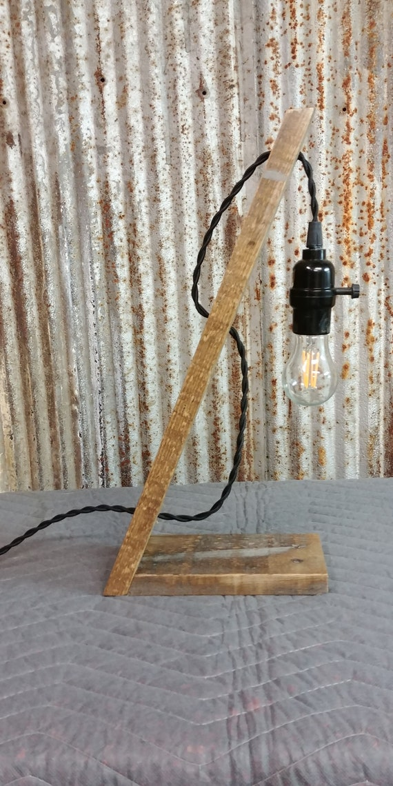 Reclaimed Wood Desk Lamp Table Lamp Pallet Lamp Leaning Etsy