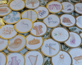 Jesse Tree Advent Color Print Christmas Ornaments