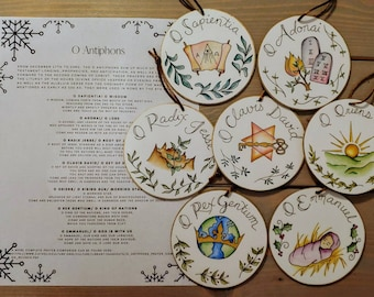 Advent Ornaments O Antiphons Hand Painted