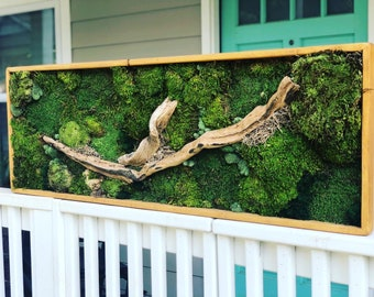 Moss Art Natural Home and Office Decor - No Care Green Wall Art - Real Preserved Plants - Handmade - Zero Maintenance Living Wall