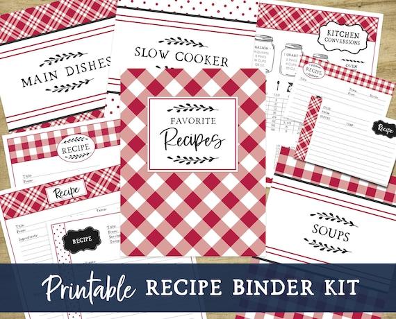Printable Recipe Binder Kit  Red Farmhouse Kitchen Fillable