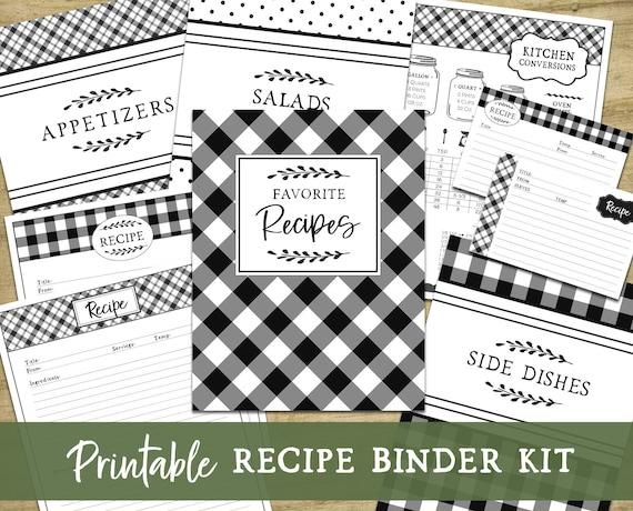 Printable Recipe Binder Kit Farmhouse Kitchen Fillable