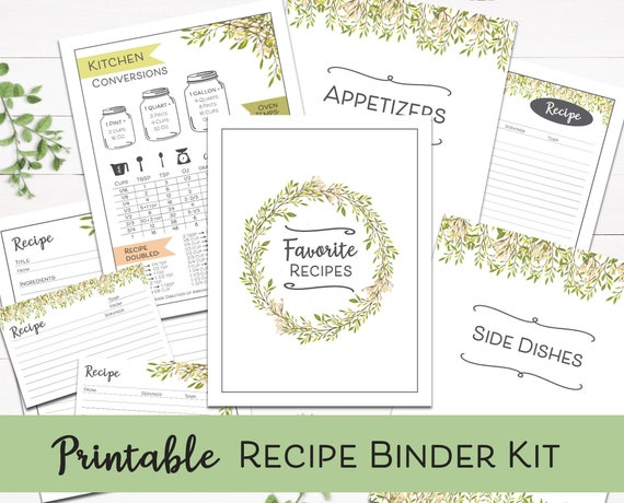 Printable Recipe Binder Kit Fillable Recipe Cards Digital