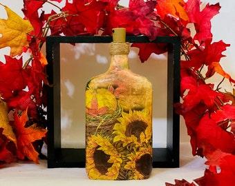 Autumn Bottle Lantern - Decoupage Bourbon Bottle Light - Pumpkin Bottle Table Centerpiece Decor - Sunflower Bottle Decor - Fall Shelf Decor
