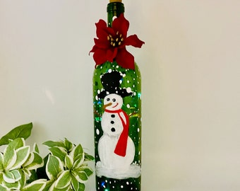 Colorful Hand Painted Christmas Snowman Bottle Lamp with Stem Poinsettia Embellishment - Festive with Both Lights On/Off - A LED Included